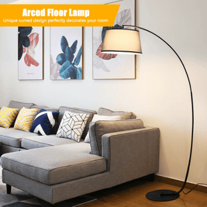 Arc Sturdy Base Modern Floor Lamp with Hanging Lampshade - Plugsusa