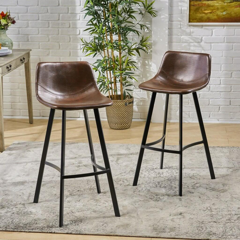 Bar Stool Modern Upholstered Faux Leather (Set Of 2) - Plugsus Home Furniture