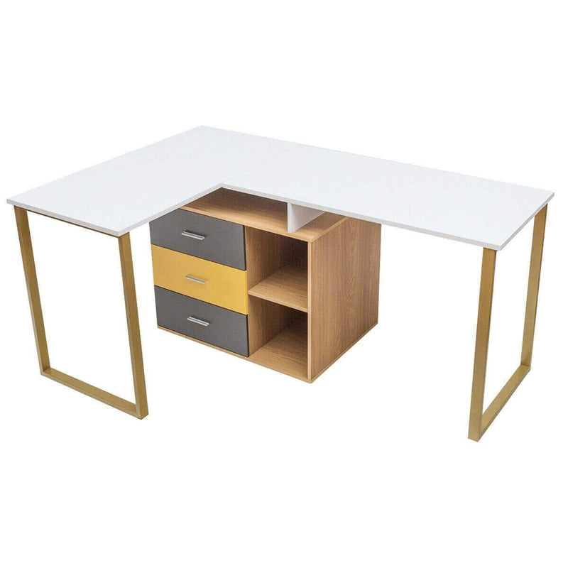 "Computer Desk L-Shaped 2 Person Adjustable 87"" - Plugsus Home Furniture"