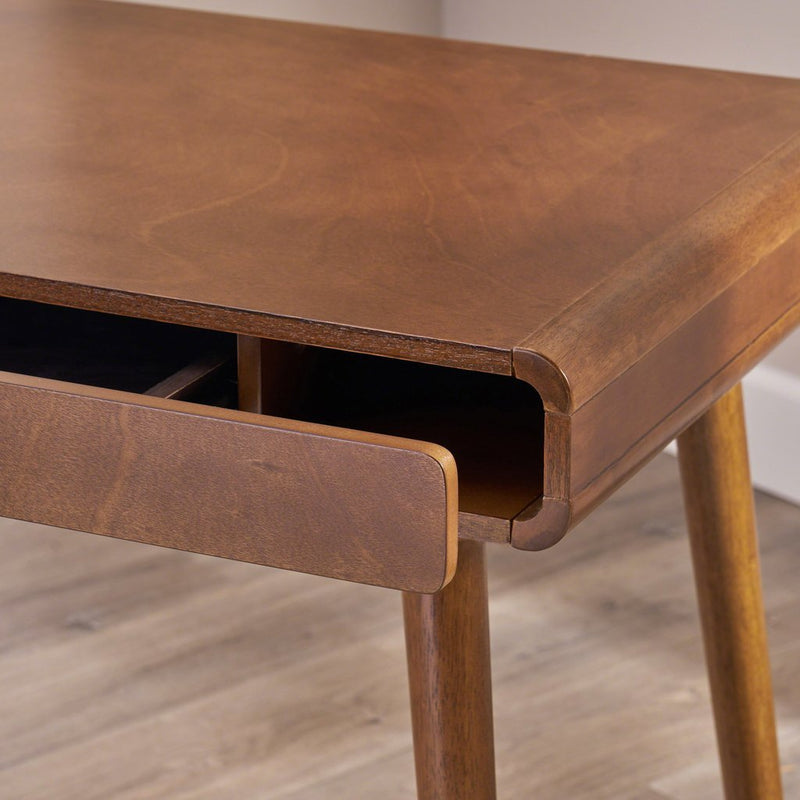 Computer Desk Mid Century Rubberwood with Middle Drawer - Plugsus Home Furniture