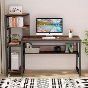 Computer Desk with 4-Tier Storage Shelves - Plugsus Home Furniture