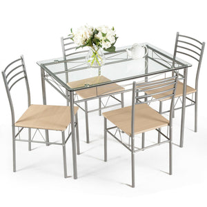Dining Set Glass Table 5 Pieces - Plugsusa