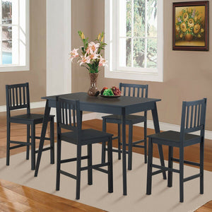 Dinning Set All Black 5 Pieces - Plugsusa