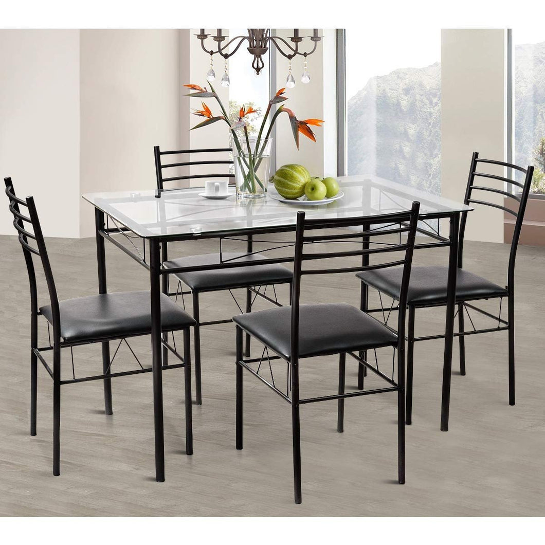 Dinning Set Tempered Glass Top Table 5 Pieces - Plugsusa
