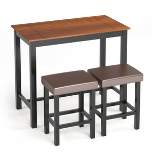 Dinning Table 3 Pieces Set With Stools - Plugsusa