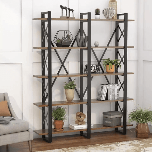 Double Wide 5 Tier Rustic Vintage Industrial X Design Shelf - Plugsusa