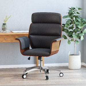 Mid-Century Modern Swivel Office Chair Bentwood Design