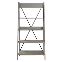 Load image into Gallery viewer, Farmhouse Grey Solid Wood 4-Shelf Ladder Bookshelf - Plugsusa