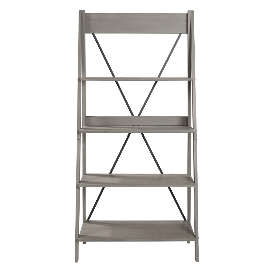 Farmhouse Grey Solid Wood 4-Shelf Ladder Bookshelf - Plugsusa
