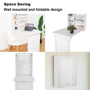 Floating Desk Wall Mounted Fold-Out Convertible - Plugsusa