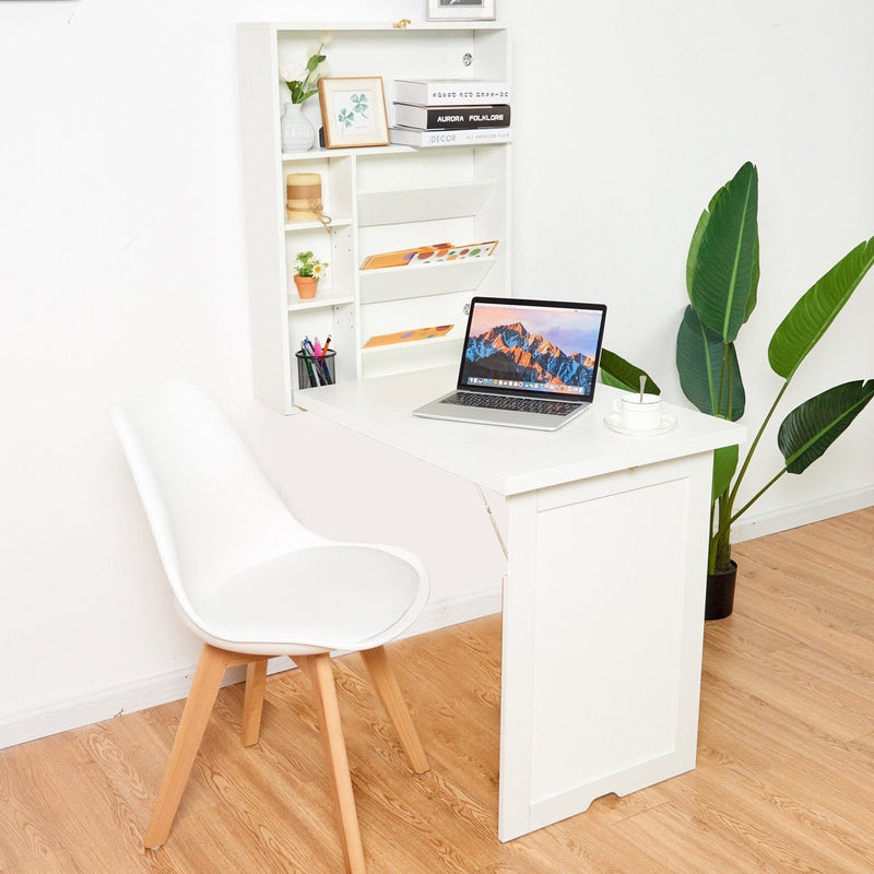 Floating Desk Wall Mounted Fold-Out Convertible.