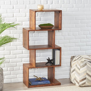 Handcrafted Boho Bookshelf 4 Shelf - Plugsus Home Furniture