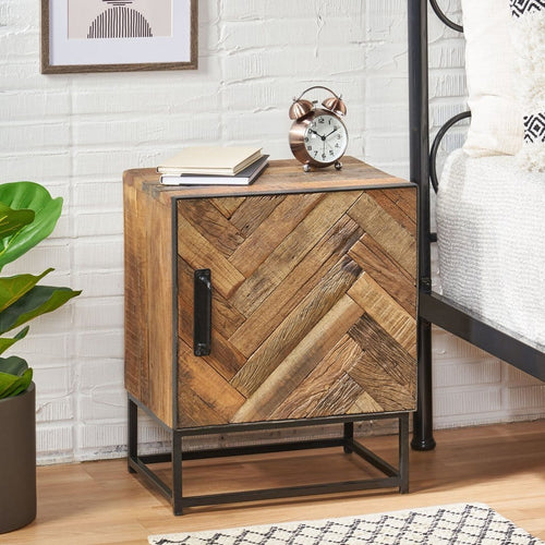Handcrafted Boho Wooden Nightstand - Plugsus Home Furniture