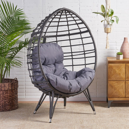 Handcrafted Rattan Wicker Egg Chair With Cushion - Plugsusa