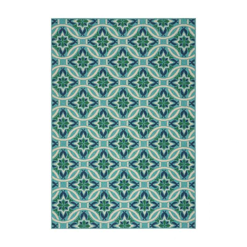 Indoor Geometric Area Rug, Blue and Green - Plugsus Home Furniture