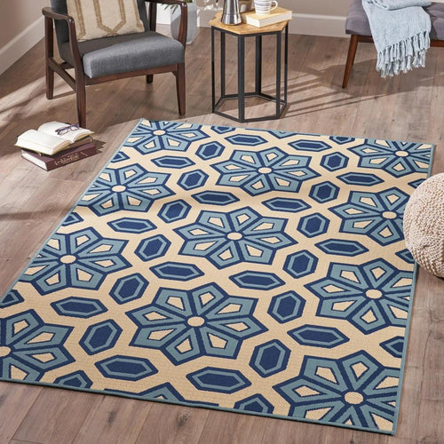 Indoor Geometric Area Rug, Blue and Ivory - Plugsus Home Furniture