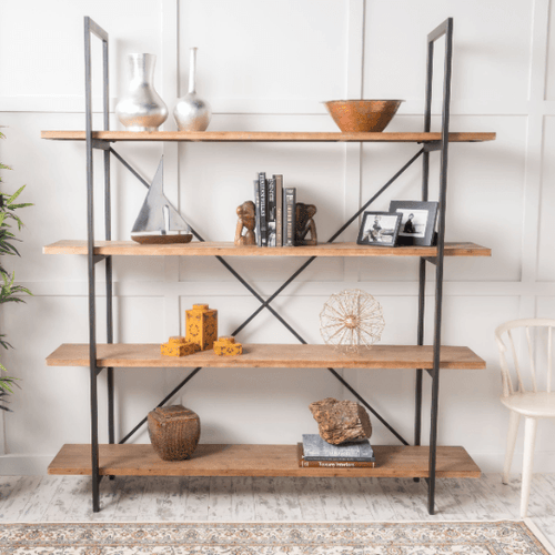 Industrial 4-Tier Bookshelf with Metal Frame - Plugsusa