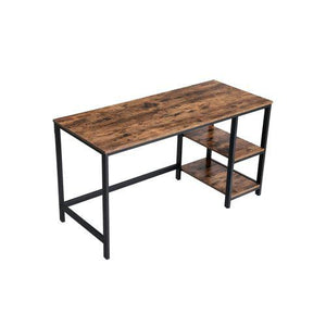 Industrial Modern Office Desk with 2 Side Shelf - Plugsus Home Furniture
