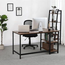 Load image into Gallery viewer, Industrial Modern Office Desk with 2 Side Shelf - Plugsus Home Furniture