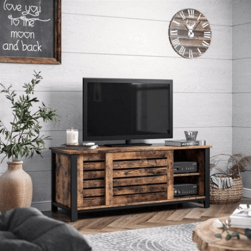 Industrial TV Stand Cabinet with Sliding Doors and 2 Shelves - Plugsusa