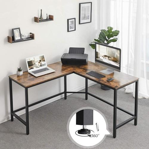 L-Shaped Computer Workstation Corner Desk - Plugsusa