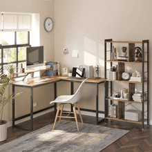 Load image into Gallery viewer, L-Shaped Corner Desk with Monitor Stand - Plugsusa