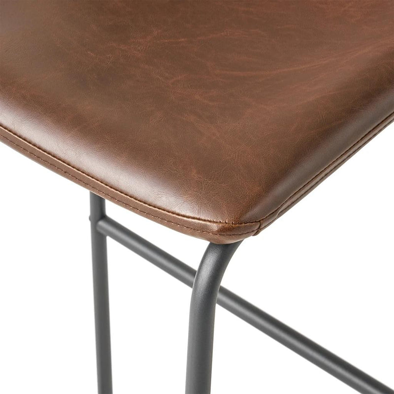 Leather Central Vintage Brown Bar Stool (Set of 2) - Plugsus Home Furniture
