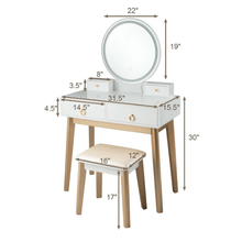 Load image into Gallery viewer, Makeup Vanity Table Set With Lighting 3 Colors - Plugsusa