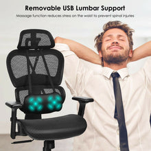 Load image into Gallery viewer, Massage Lumbar Office Chair Mesh Recliner - Plugsusa