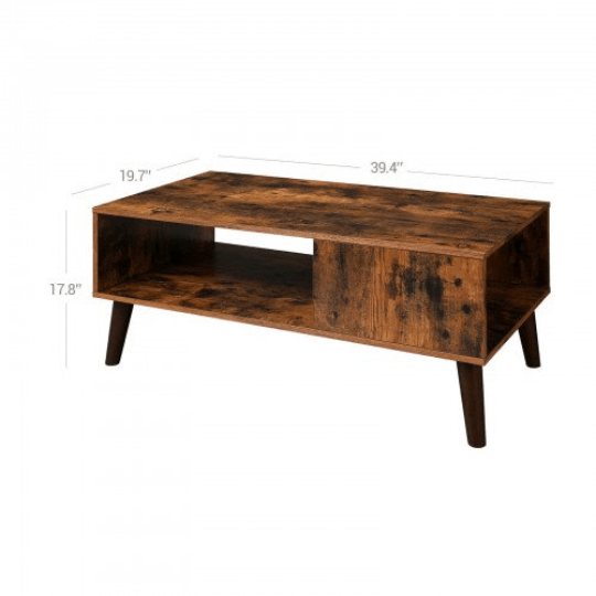 Mid Century Coffee Table with Storage Shelf Accent Table - Plugsusa