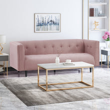 Load image into Gallery viewer, Mid-Century Modern Fabric Upholstered Tufted 3 Seater Sofa - Plugsusa