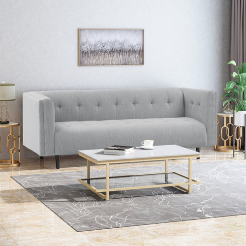 Mid-Century Modern Fabric Upholstered Tufted 3 Seater Sofa - Plugsusa