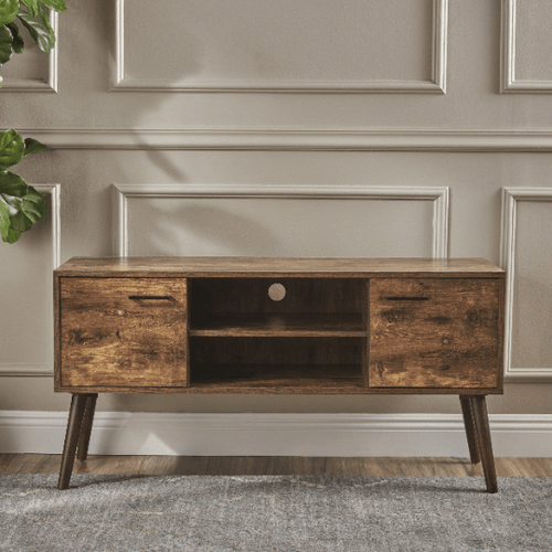 Mid Century Modern Tv Stand with 2 Doors & Shelf - Plugsusa