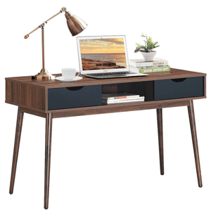 Mid Century Office Desk with 2 Drawers and Middle Shelf - Plugsusa