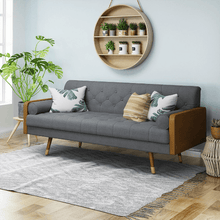 Load image into Gallery viewer, Mid Century Style Modern Sofa 6 FT With Walnut Details - Plugsusa