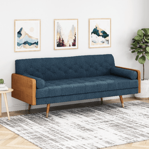 Mid Century Style Modern Sofa 6 FT With Walnut Details - Plugsusa