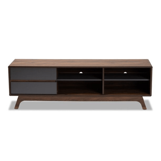 Mid Century Tv Stand Two-Tone Gray and Walnut Finished Wood with 2 Drawers - Plugsusa