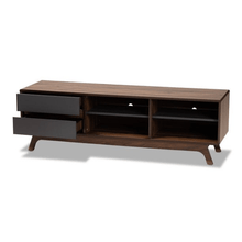Load image into Gallery viewer, Mid Century Tv Stand Two-Tone Gray and Walnut Finished Wood with 2 Drawers - Plugsusa