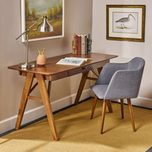 Load image into Gallery viewer, Mid Century Wood Office Desk A Frame With Middle Drawer - Plugsusa