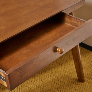 Mid Century Wood Office Desk A Frame With Middle Drawer - Plugsusa