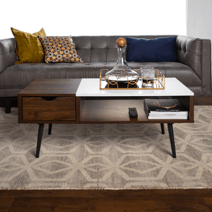 Modern Coffee Table Booker Acorn and Faux Marble - Plugsusa
