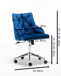 Modern Design Velvet Desk Task Chair with Arms - Plugsus Home Furniture