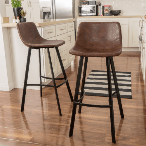 Modern Leather Skin Bar Stool Set of 2 - Plugsusa