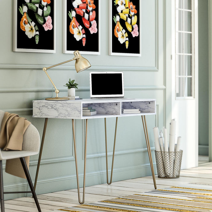 Modern Marble Office Desk with Storage - Plugsusa