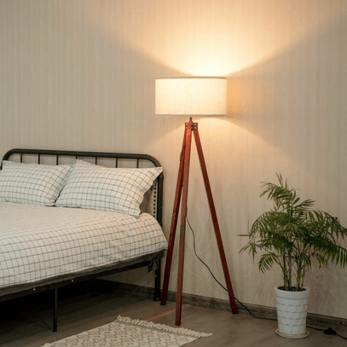 Modern Style Wood Tripod Floor Lamp with Foot Switch - Plugsusa