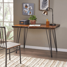 Load image into Gallery viewer, Natural Finish Office Desk with Iron Frame - Plugsusa