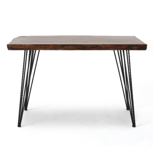 Natural Finish Office Desk with Iron Frame - Plugsusa