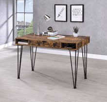Load image into Gallery viewer, Office Desk Antique Nutmeg with Middle Drawer and Shelf's - Plugsusa
