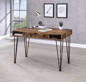 Office Desk Antique Nutmeg with Middle Drawer and Shelf's - Plugsusa