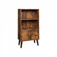 Load image into Gallery viewer, Retro 2-Tier Bookshelf with Doors Storage Cabinet for Books - Plugsusa